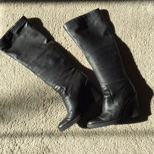 Black tall Calvin Klein wedge boots